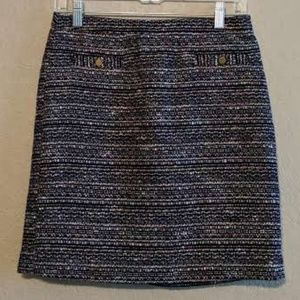 "LOFT Multi-Colored Faux Tweed ""Mod"" Skirt"